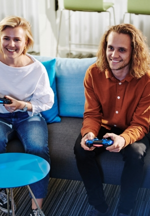 People playing Playstation